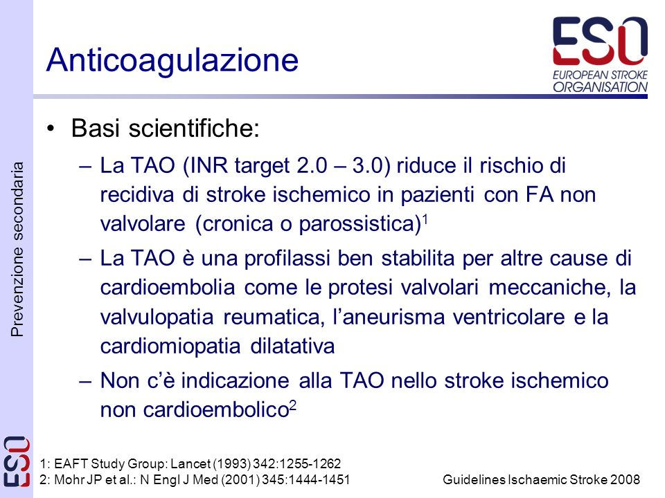 Anticoagulazione Basi scientifiche:
