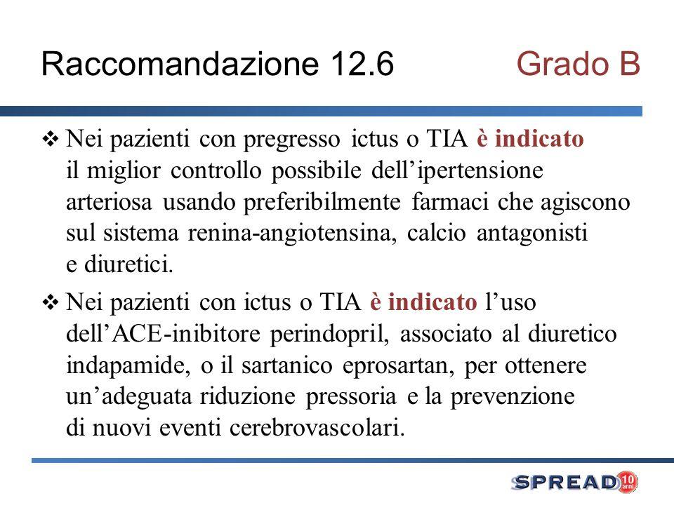 Raccomandazione 12.6 Grado B