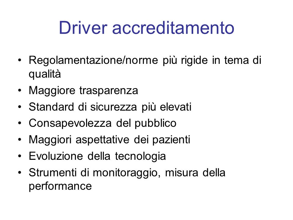 Driver accreditamento