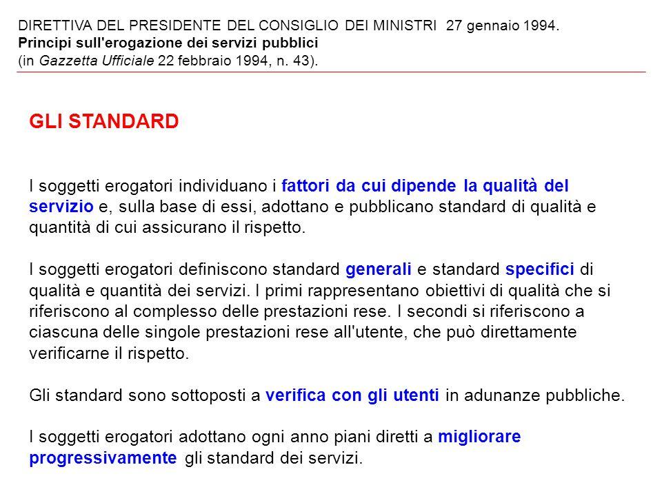 DIRETTIVA DEL PRESIDENTE DEL CONSIGLIO DEI MINISTRI 27 gennaio 1994.