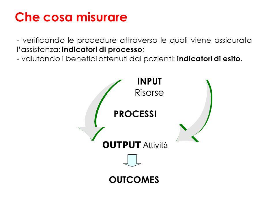 Che cosa misurare INPUT Risorse PROCESSI OUTPUT Attività OUTCOMES