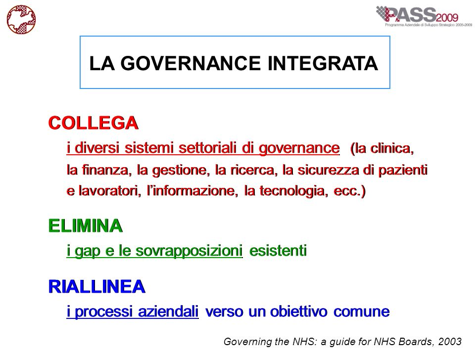 LA GOVERNANCE INTEGRATA