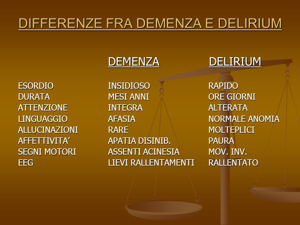 DIFFERENZE FRA DEMENZA E DELIRIUM