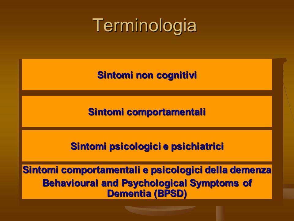Terminologia Sintomi non cognitivi Sintomi comportamentali