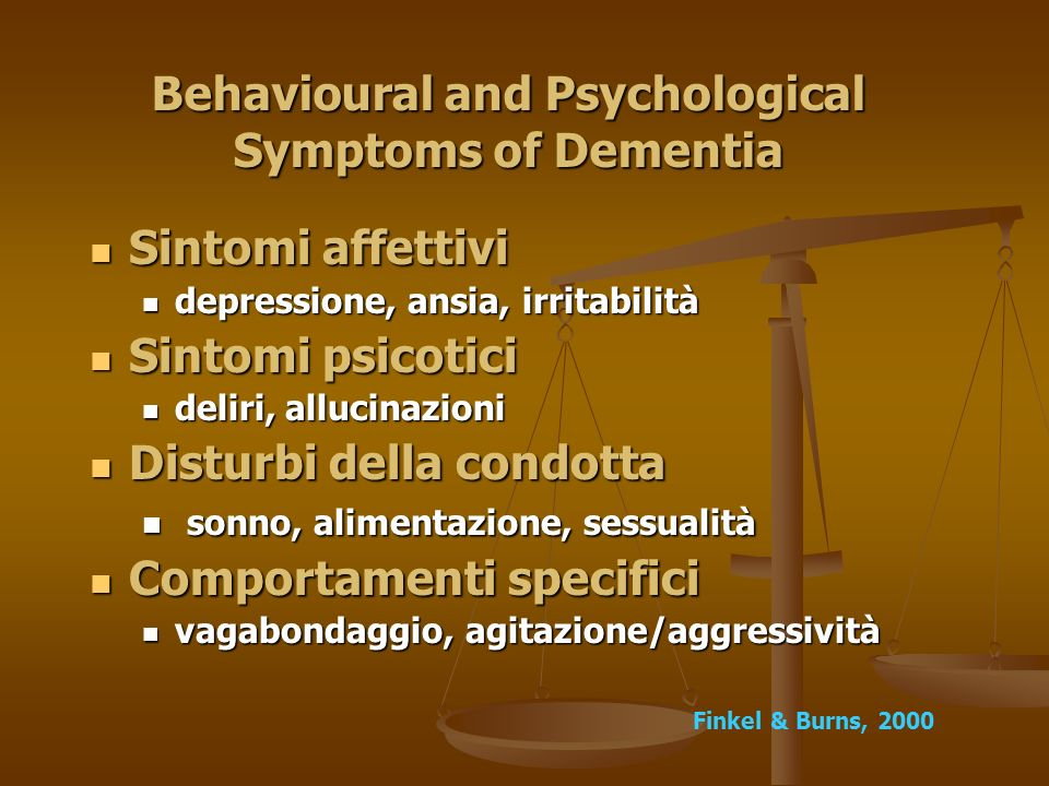 Behavioural and Psychological Symptoms of Dementia