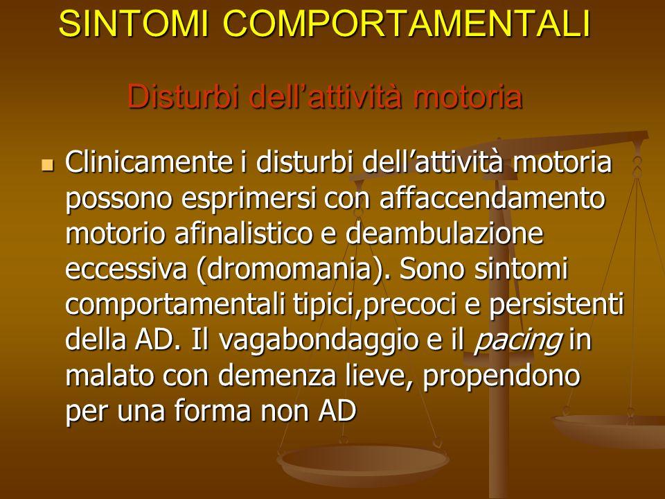 SINTOMI COMPORTAMENTALI Disturbi dell'attività motoria