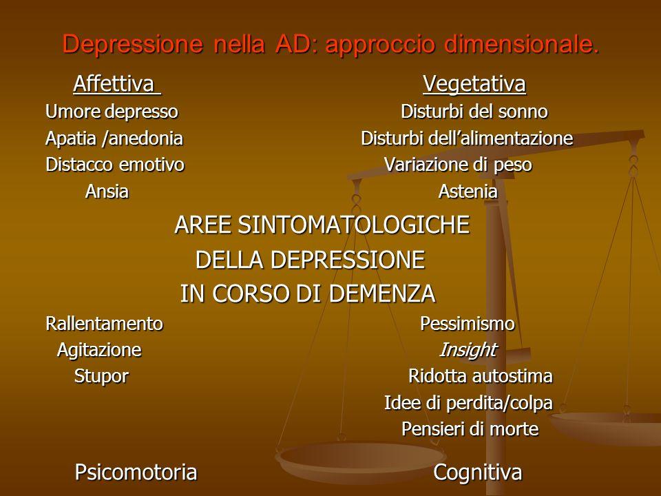 Depressione nella AD: approccio dimensionale.
