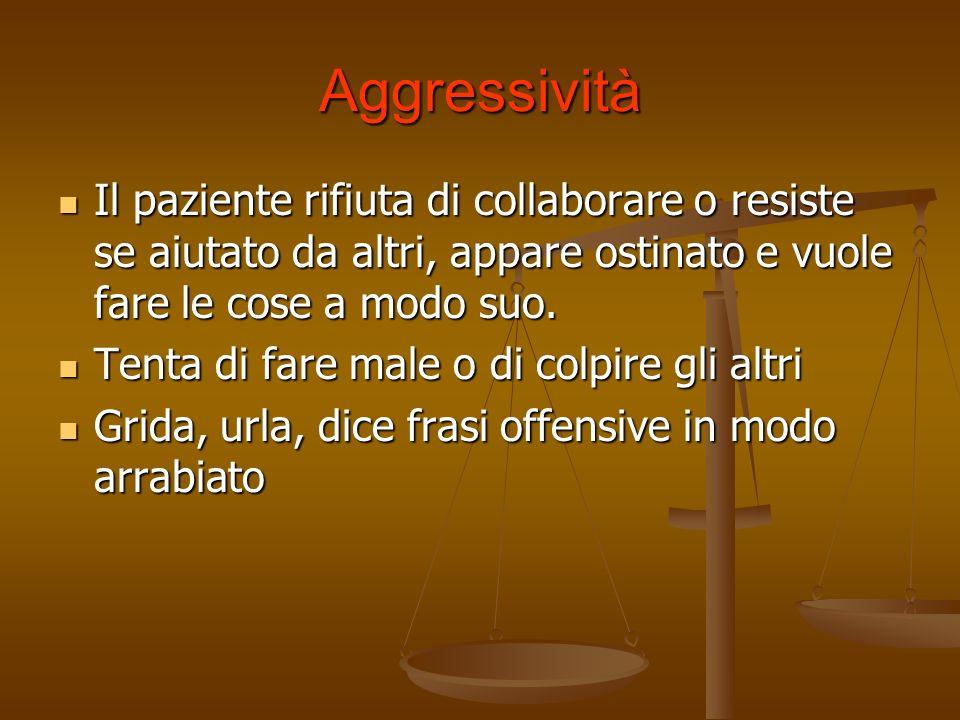 AggressivitàIl paziente rifiuta di collaborare o resiste se aiutato da altri, appare ostinato e vuole fare le cose a modo suo.