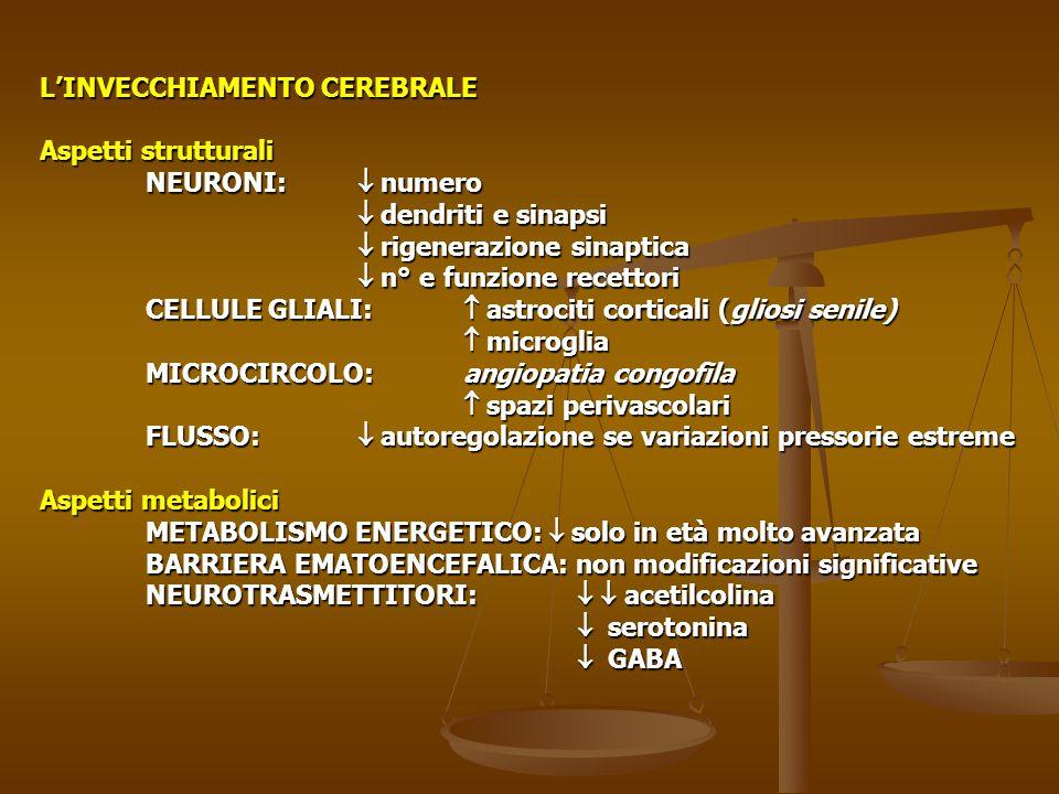 L'INVECCHIAMENTO CEREBRALE Aspetti strutturali NEURONI:  numero