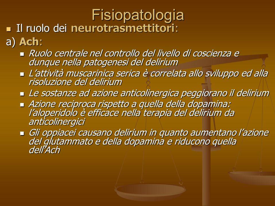 Fisiopatologia Il ruolo dei neurotrasmettitori: a) Ach: