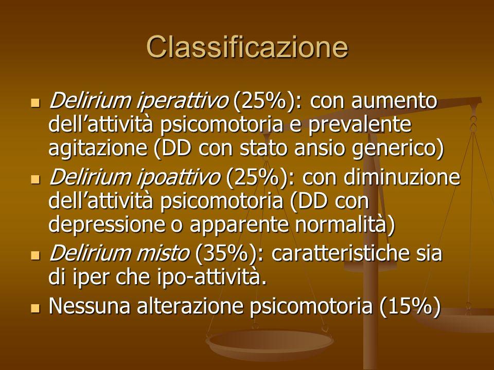 27/03/2017Classificazione. Delirium iperattivo (25%): con aumento dell'attività psicomotoria e prevalente agitazione (DD con stato ansio generico)