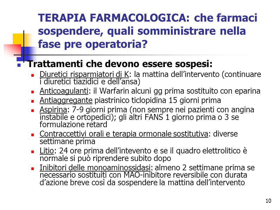 TERAPIA FARMACOLOGICA: che farmaci sospendere, quali somministrare nella fase pre operatoria