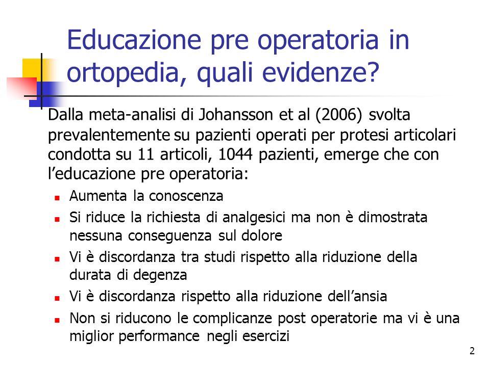 Educazione pre operatoria in ortopedia, quali evidenze