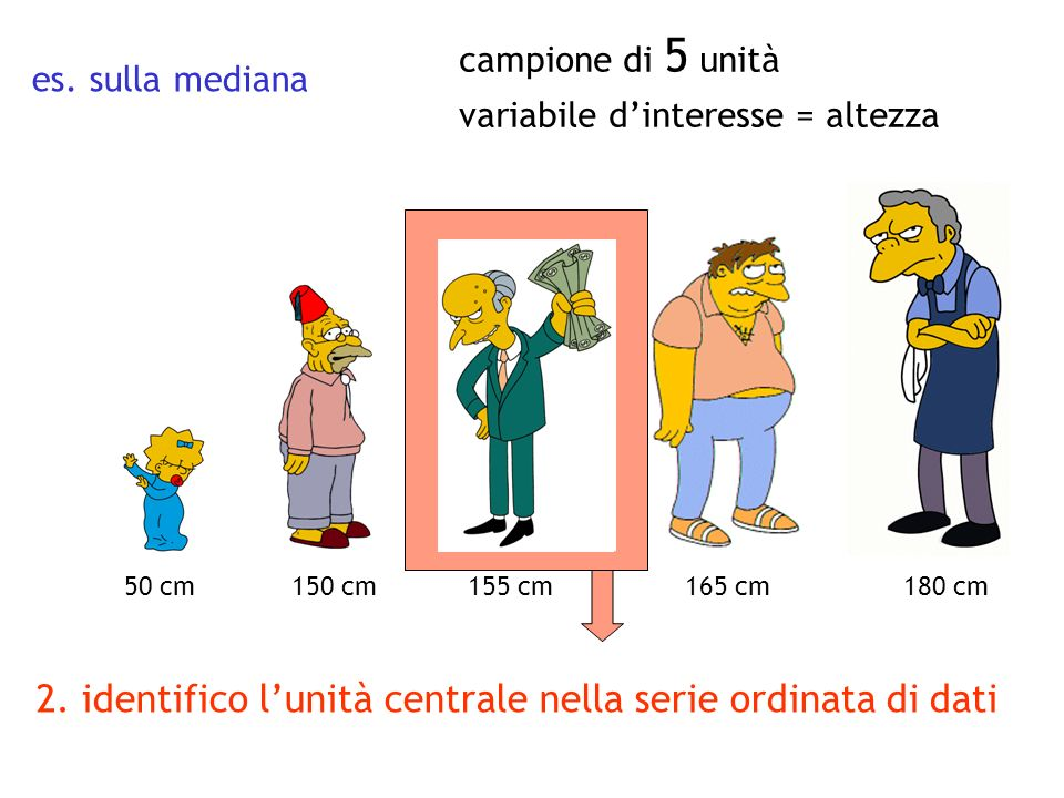 2. identifico l'unità centrale nella serie ordinata di dati