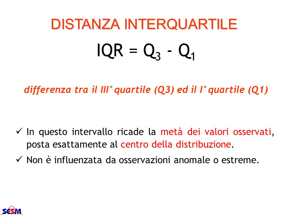 differenza tra il III°quartile (Q3) ed il I°quartile (Q1)