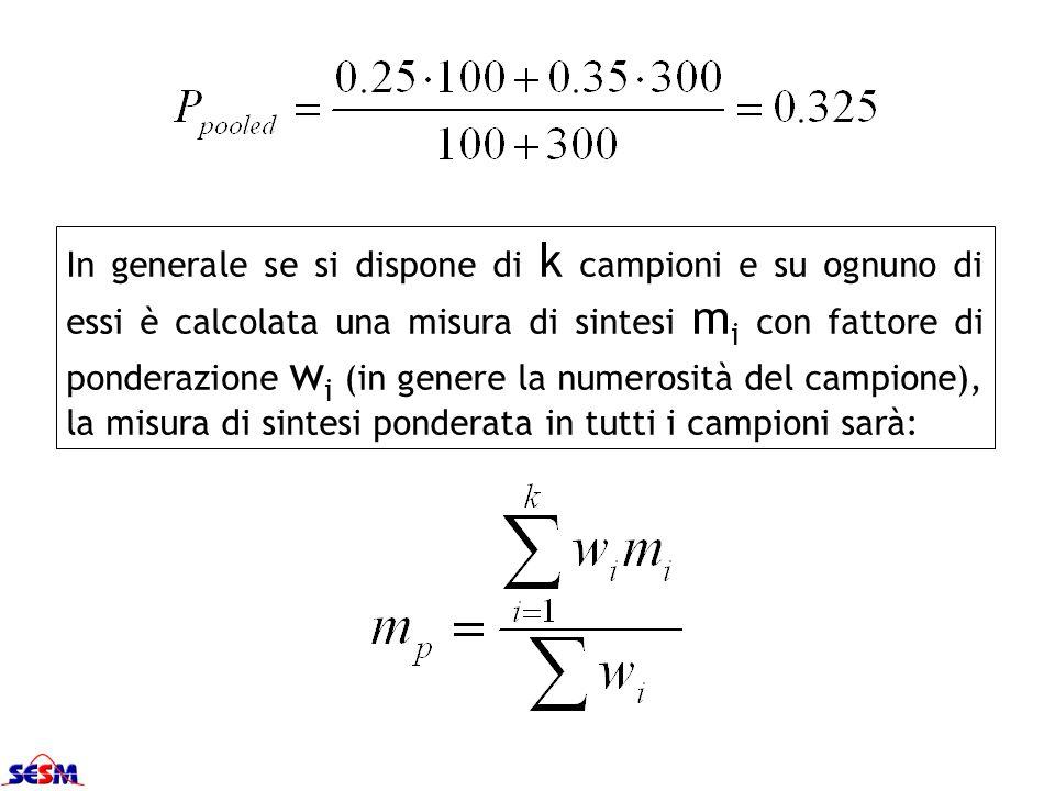 In generale se si dispone di k campioni e su ognuno di essi è calcolata una misura di sintesi mi con fattore di ponderazione wi (in genere la numerosità del campione), la misura di sintesi ponderata in tutti i campioni sarà: