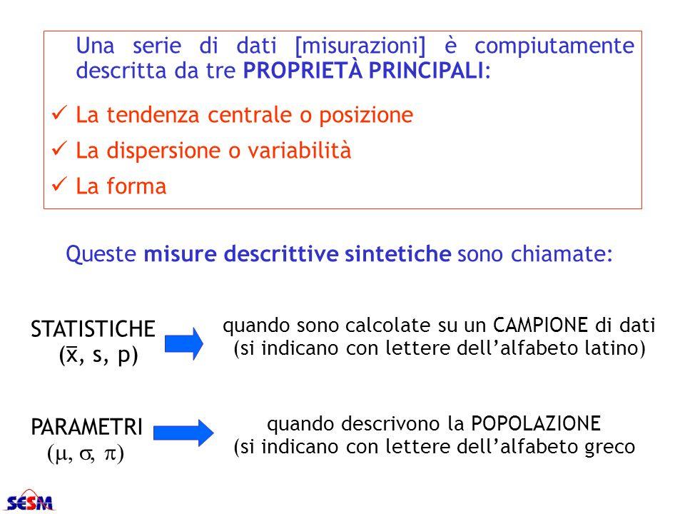 La tendenza centrale o posizione La dispersione o variabilità La forma