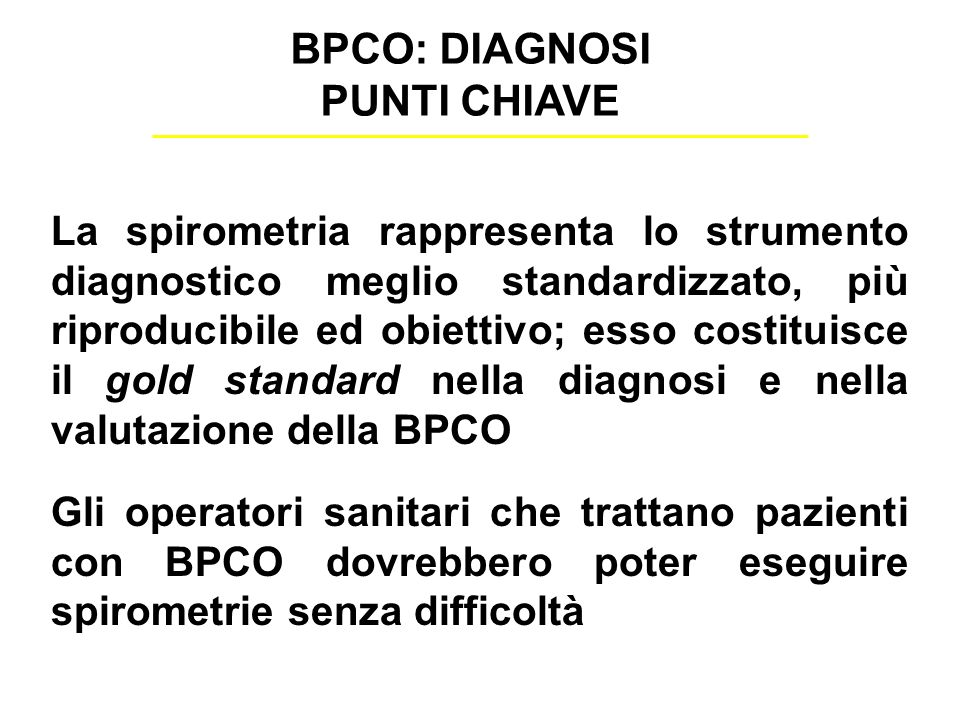 BPCO: DIAGNOSI PUNTI CHIAVE