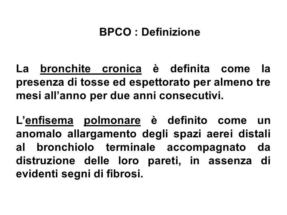 BPCO : DefinizioneLa bronchite cronica è definita come la presenza di tosse ed espettorato per almeno tre mesi all'anno per due anni consecutivi.