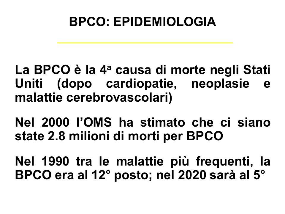 BPCO: EPIDEMIOLOGIALa BPCO è la 4a causa di morte negli Stati Uniti (dopo cardiopatie, neoplasie e malattie cerebrovascolari)