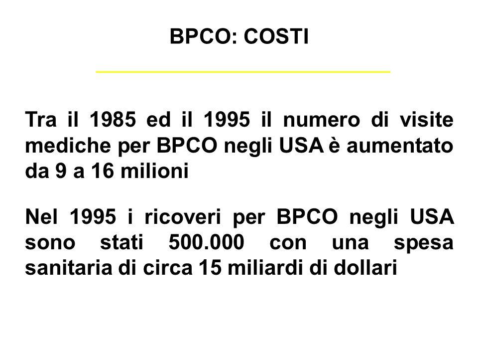 BPCO: COSTI Tra il 1985 ed il 1995 il numero di visite mediche per BPCO negli USA è aumentato da 9 a 16 milioni.