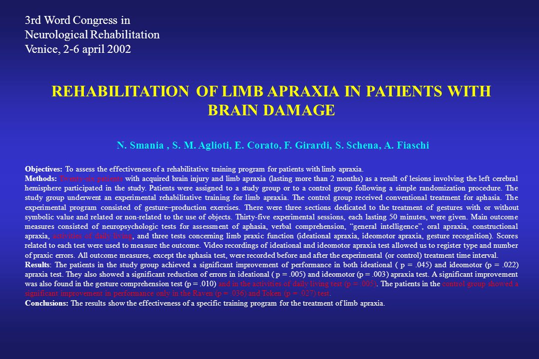 REHABILITATION OF LIMB APRAXIA IN PATIENTS WITH BRAIN DAMAGE