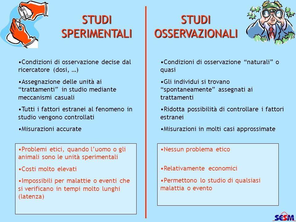 STUDI SPERIMENTALI STUDI OSSERVAZIONALI