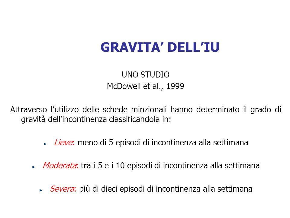 GRAVITA' DELL'IU UNO STUDIO McDowell et al., 1999