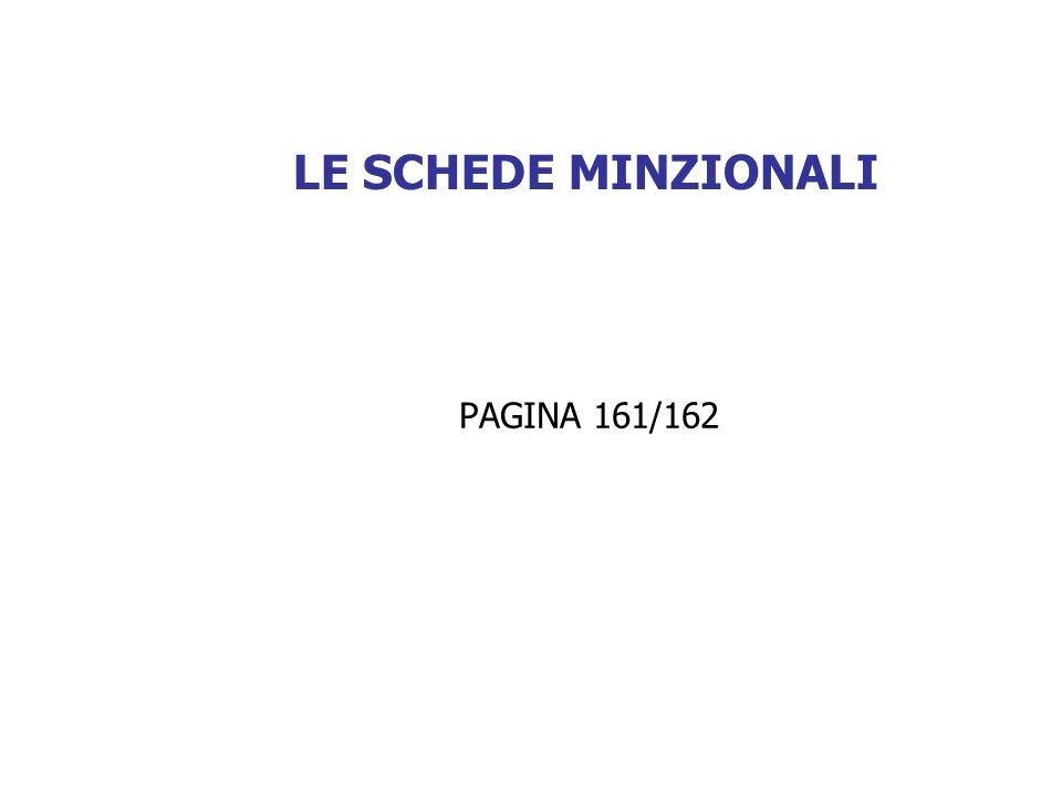 LE SCHEDE MINZIONALI PAGINA 161/162
