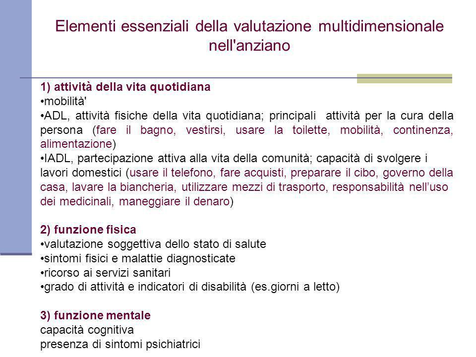 Elementi essenziali della valutazione multidimensionale nell anziano