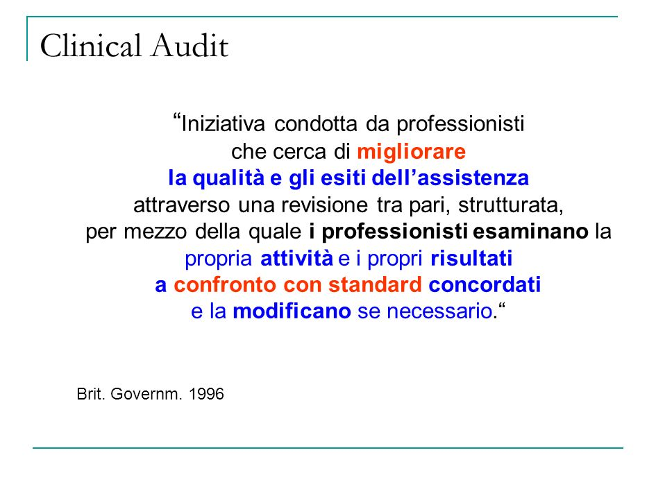 Clinical Audit Iniziativa condotta da professionisti