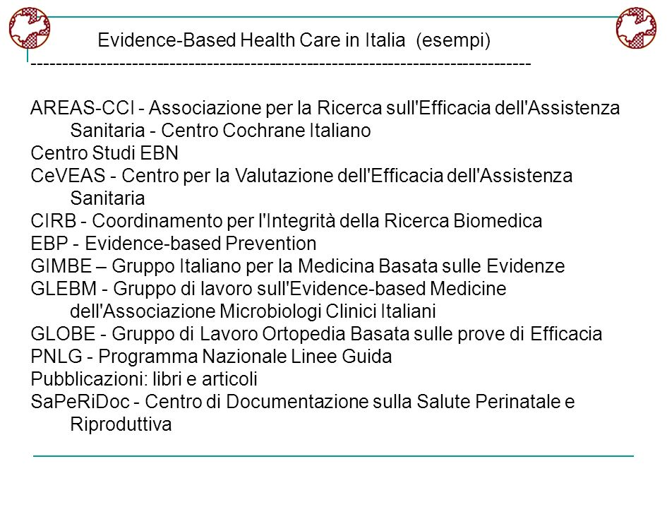 Evidence-Based Health Care in Italia (esempi)