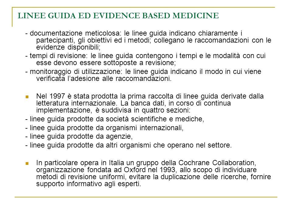 LINEE GUIDA ED EVIDENCE BASED MEDICINE