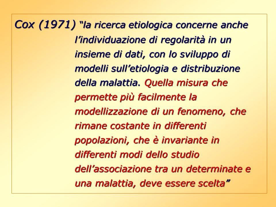 Cox (1971) la ricerca etiologica concerne anche l'individuazione di regolarità in un insieme di dati, con lo sviluppo di modelli sull'etiologia e distribuzione della malattia.