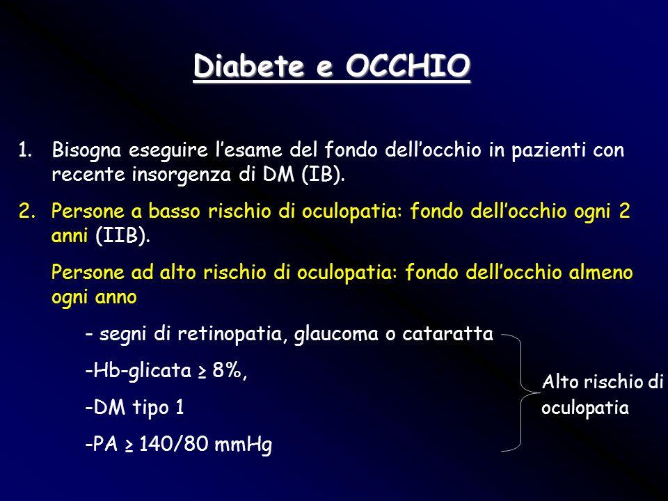 Diabete e OCCHIO Bisogna eseguire l'esame del fondo dell'occhio in pazienti con recente insorgenza di DM (IB).