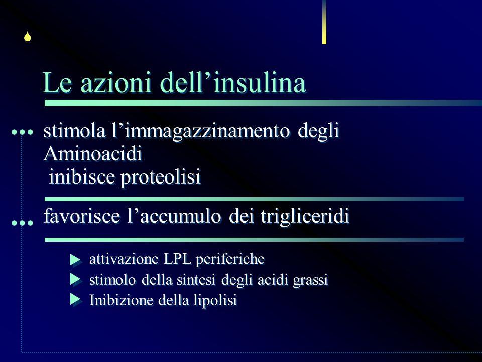 ... ... Le azioni dell'insulina stimola l'immagazzinamento degli