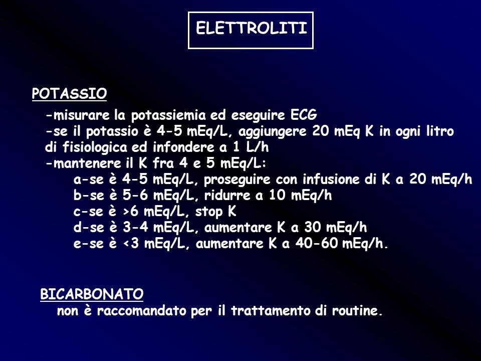 ELETTROLITI POTASSIO -misurare la potassiemia ed eseguire ECG
