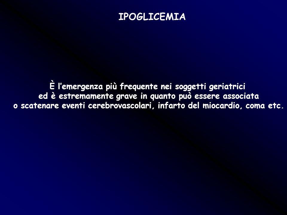 IPOGLICEMIA È l'emergenza più frequente nei soggetti geriatrici