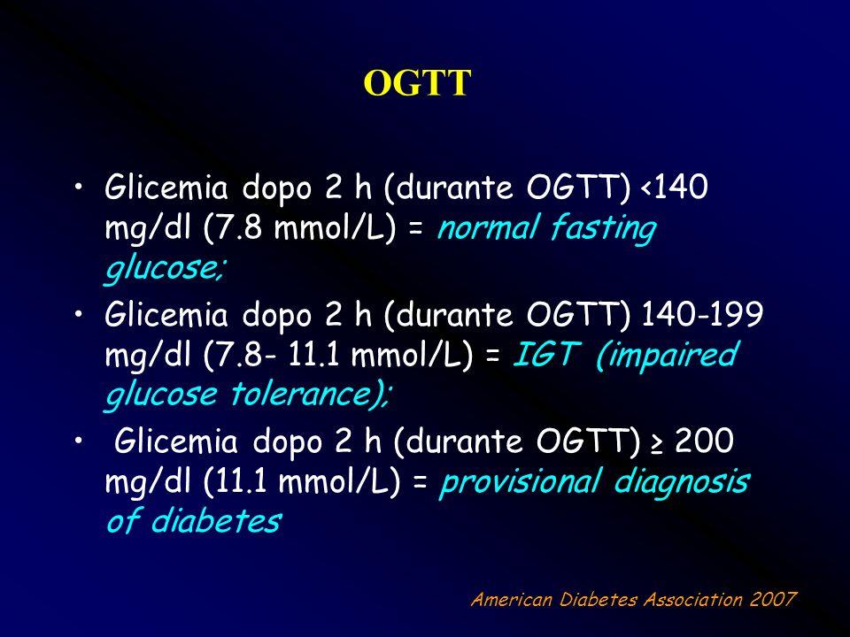 OGTT Glicemia dopo 2 h (durante OGTT) <140 mg/dl (7.8 mmol/L) = normal fasting glucose;