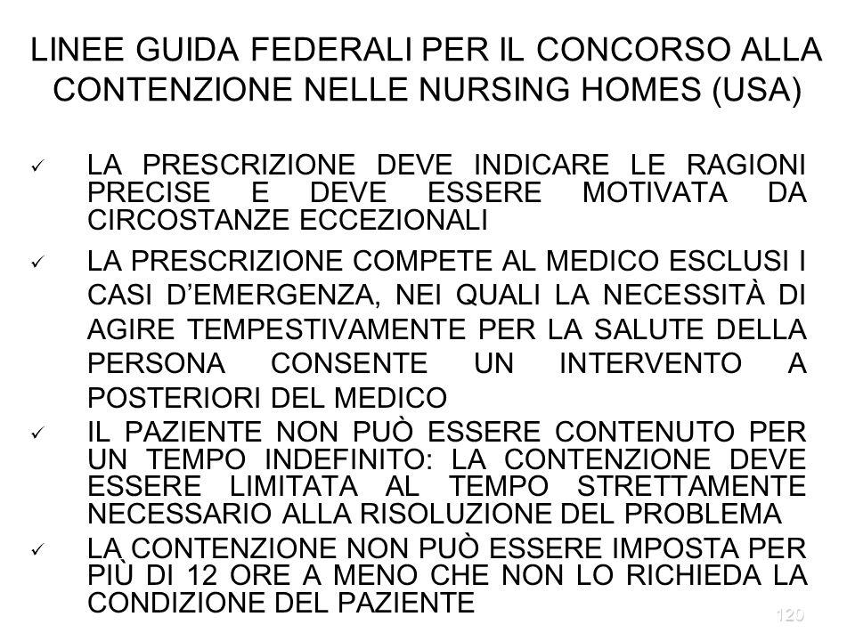 LINEE GUIDA FEDERALI PER IL CONCORSO ALLA CONTENZIONE NELLE NURSING HOMES (USA)