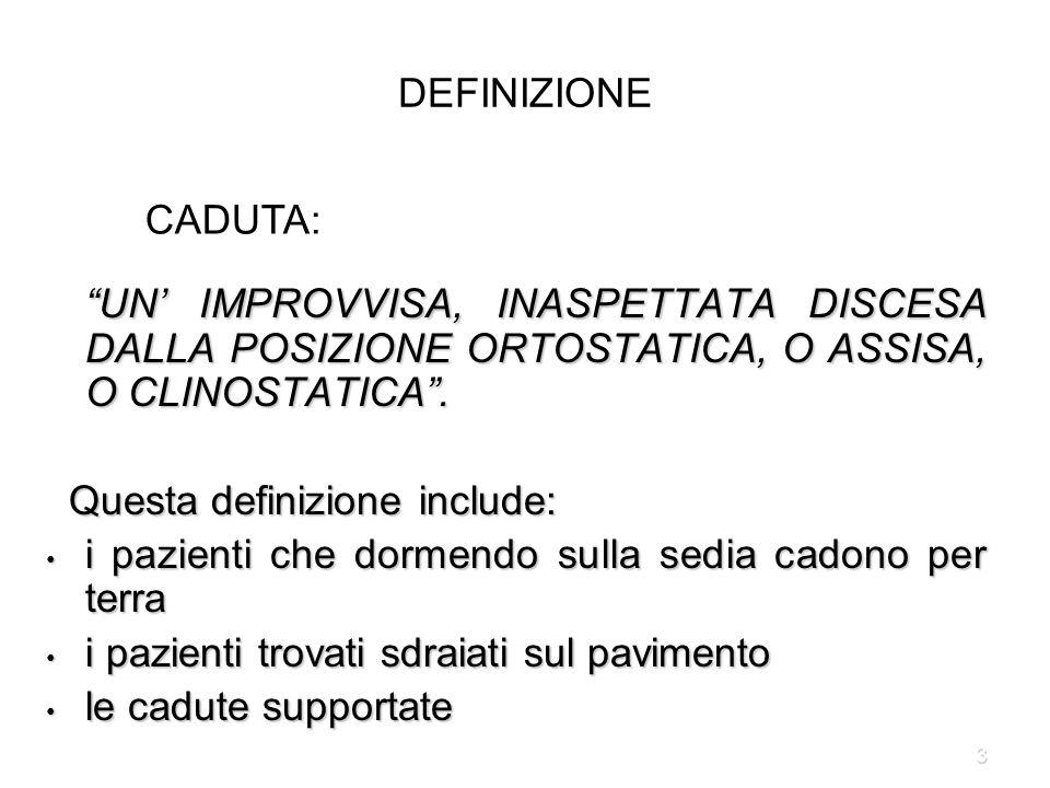 DEFINIZIONE CADUTA: UN' IMPROVVISA, INASPETTATA DISCESA DALLA POSIZIONE ORTOSTATICA, O ASSISA, O CLINOSTATICA .