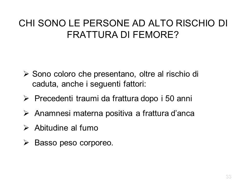 CHI SONO LE PERSONE AD ALTO RISCHIO DI FRATTURA DI FEMORE