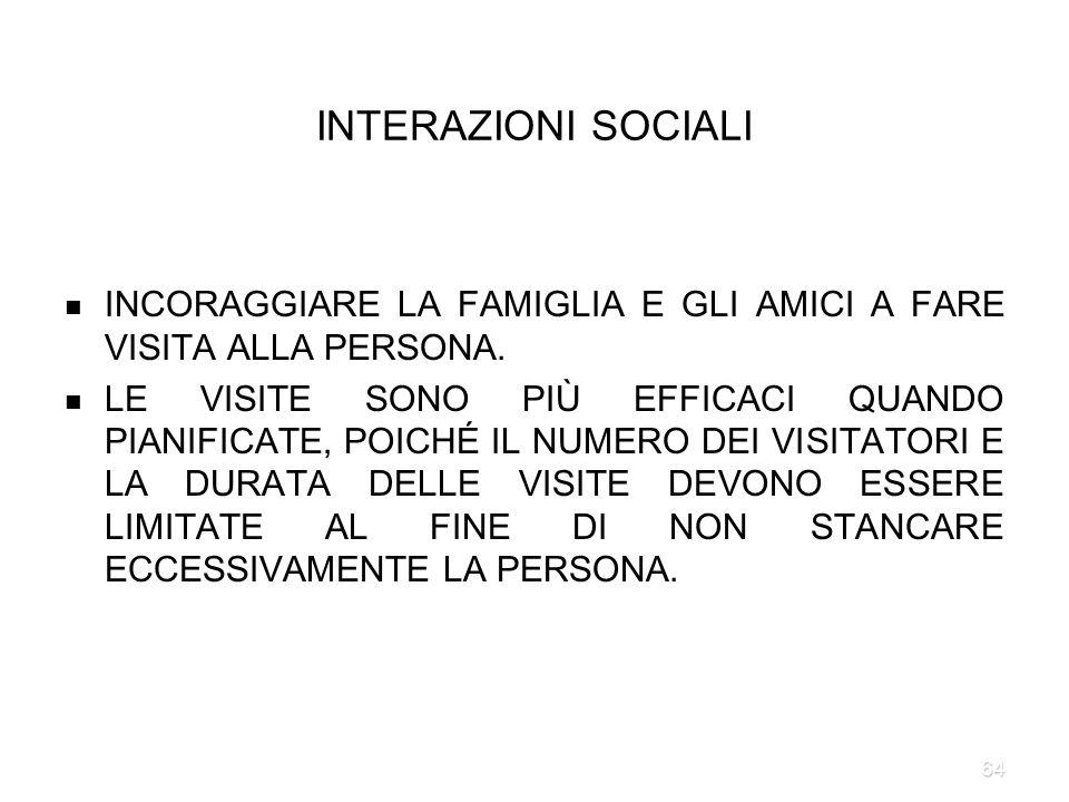INTERAZIONI SOCIALI INCORAGGIARE LA FAMIGLIA E GLI AMICI A FARE VISITA ALLA PERSONA.