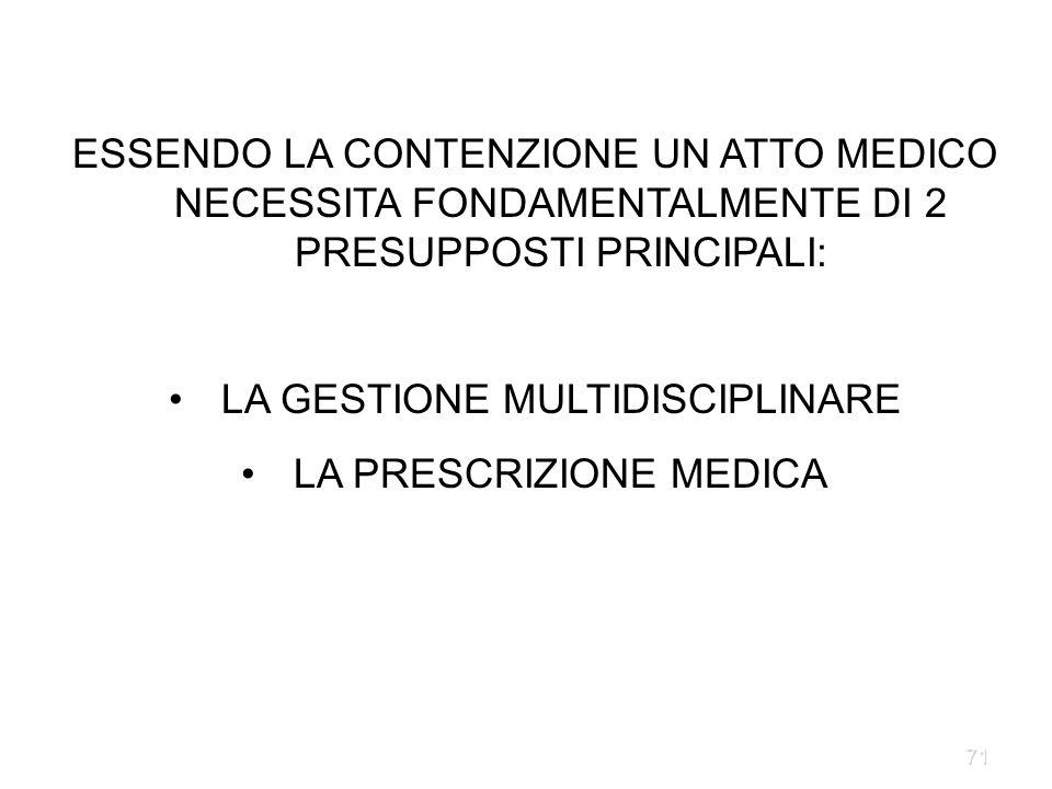 LA GESTIONE MULTIDISCIPLINARE LA PRESCRIZIONE MEDICA