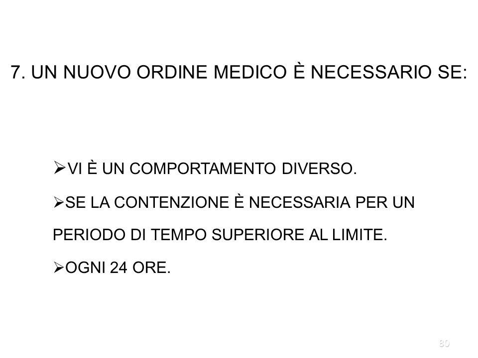 7. UN NUOVO ORDINE MEDICO È NECESSARIO SE: