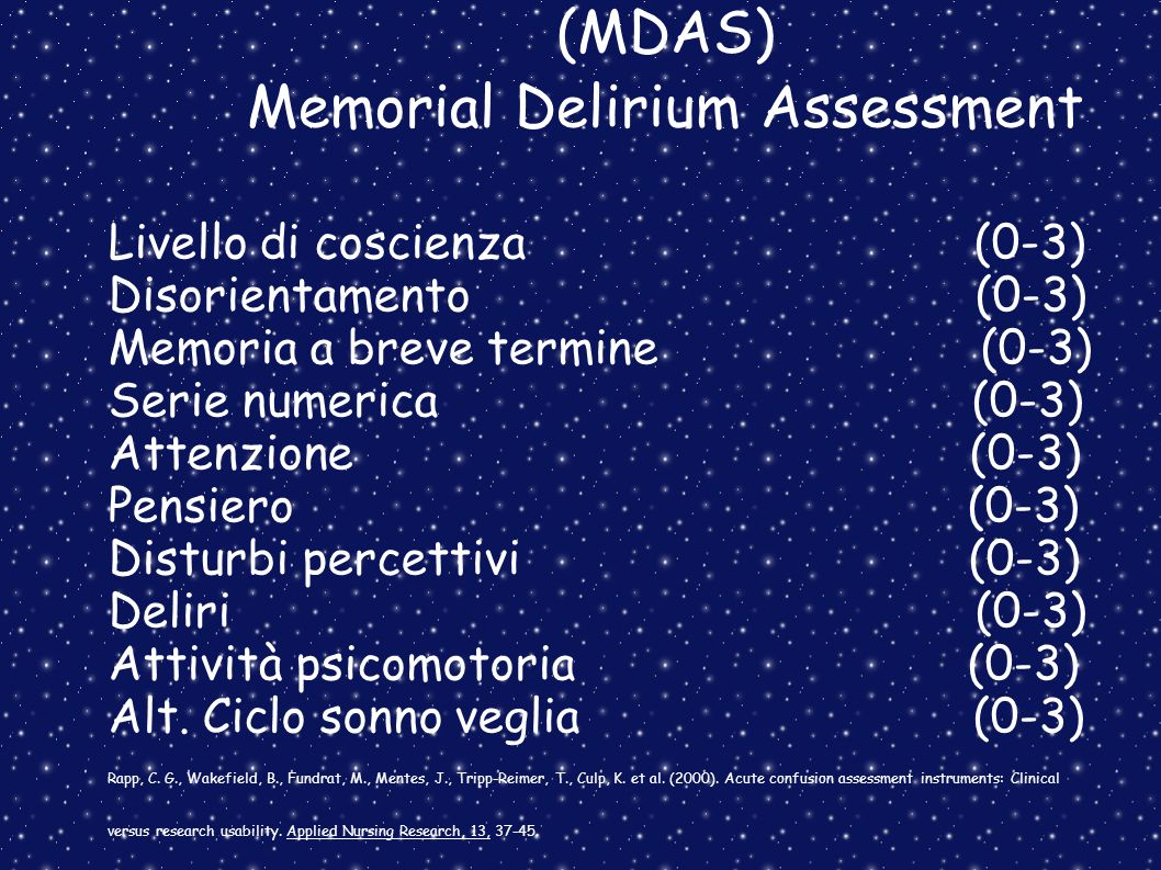 (MDAS) Memorial Delirium Assessment