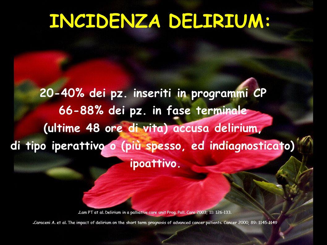 INCIDENZA DELIRIUM: 20-40% dei pz. inseriti in programmi CP