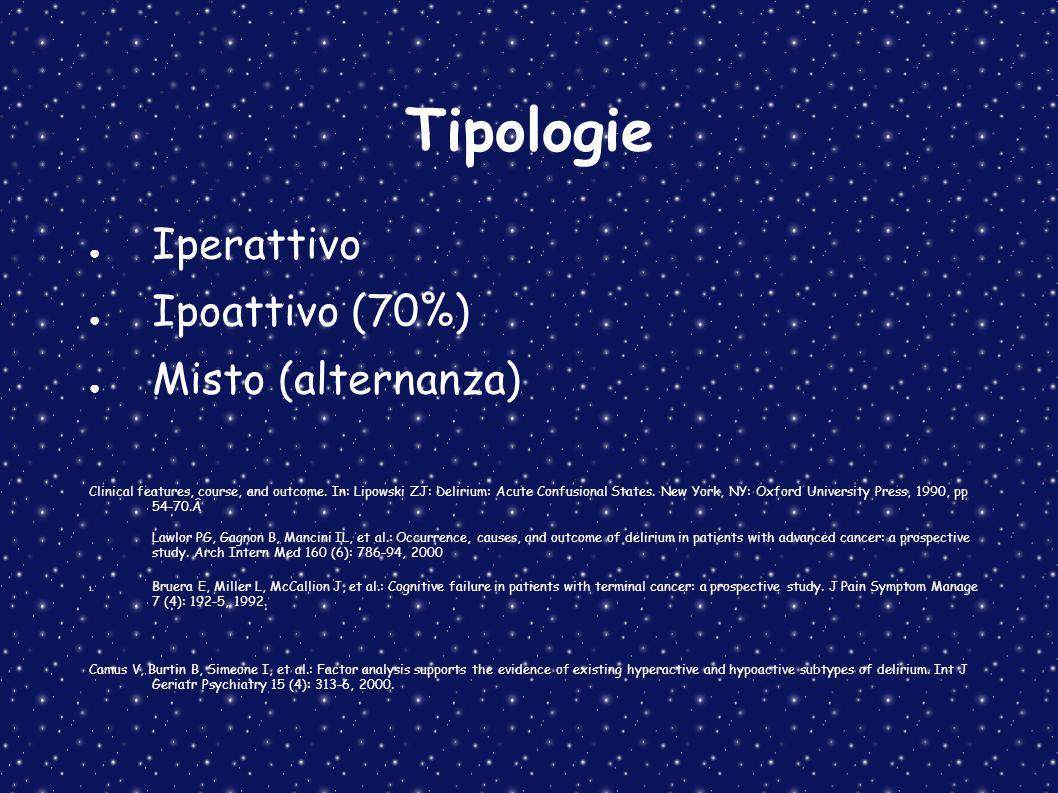 Tipologie Iperattivo Ipoattivo (70%) Misto (alternanza)