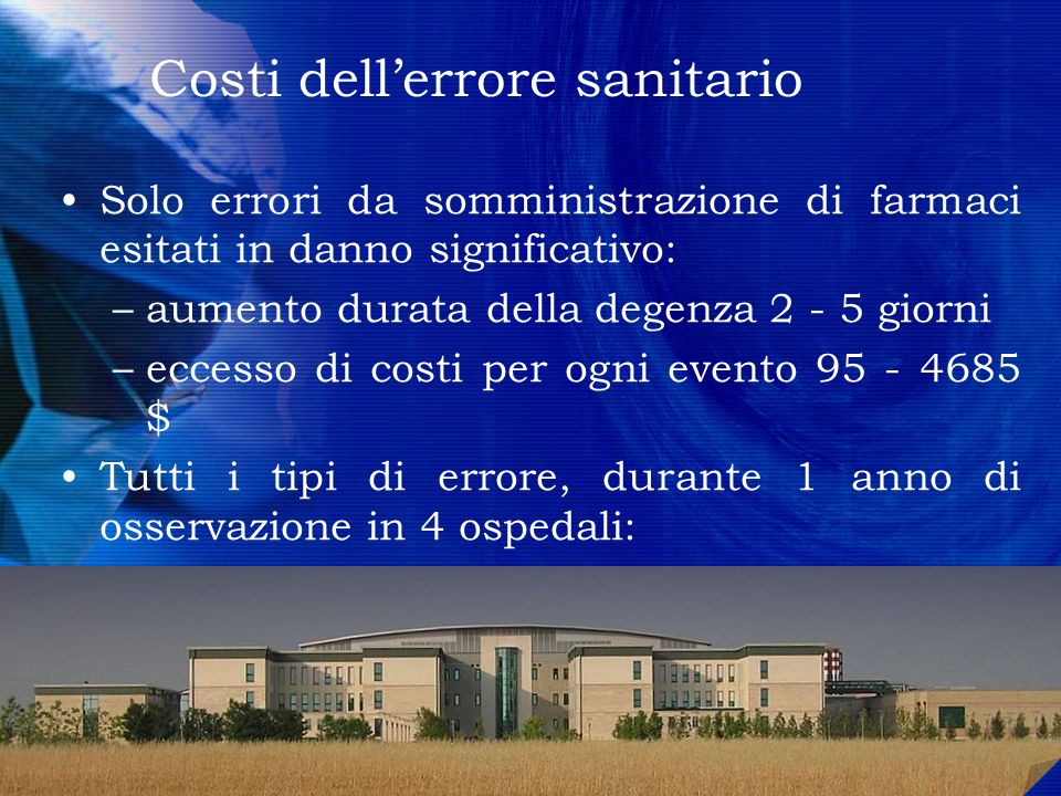 Costi dell'errore sanitario