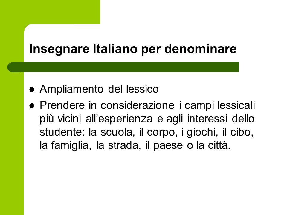 Insegnare Italiano per denominare